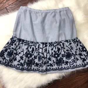 NWT Melissa Paige Stripe Boho Embroidered Skirt